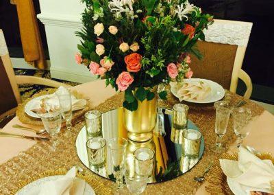 aranjament masa alb auriu nunta wedding show 2017 cluj