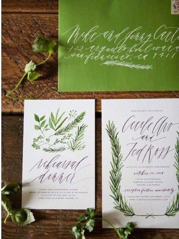 trend culoare verde invitatii nunta